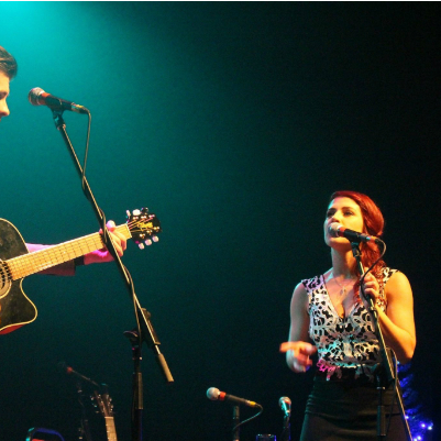 Sean and Kat Mahon performing in Backstage Theatre Longford